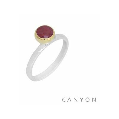 Bague argent décorée silimanite rouge ronde décalée sertie laiton - Canyon
