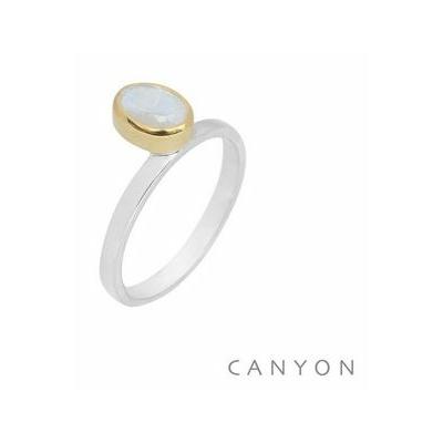 Bague argent petite pierre de lune ovale droite décalée sertie laiton - CANYON