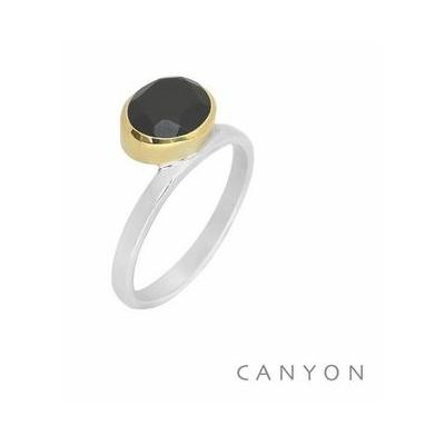 Bague argent onyx noir ovale couchée décalée sertissage laiton - Canyon