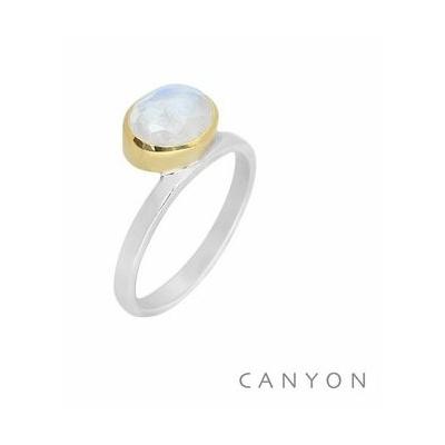 Bague argent pierre de lune ovale couchée décalée sertissage laiton - Canyon