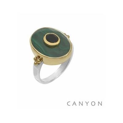 Bague argent et laiton ovale grande malachite petit onyx noir - Canyon