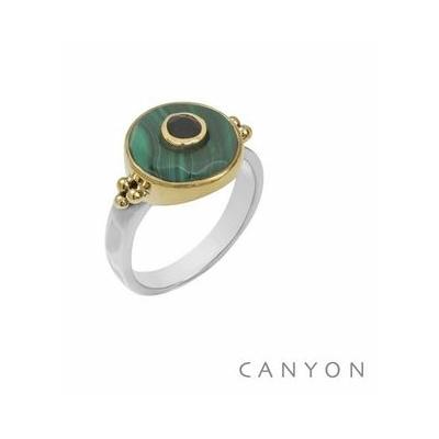 Bague argent et laiton ronde grande malachite petit onyx noir - Canyon