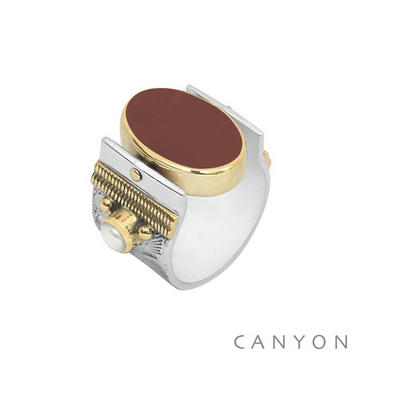 Bague argent et laiton grand modèle réversible jaspe rouge et nacre grise ovales - Canyon