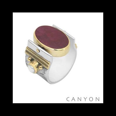 Bague argent et laiton grand modèle réversible sillimanite rouge et lapis lazuli ovales
