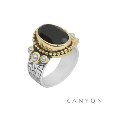 Bague argent et laiton jaspe rouge ovale, 3 perles blanches - Canyon