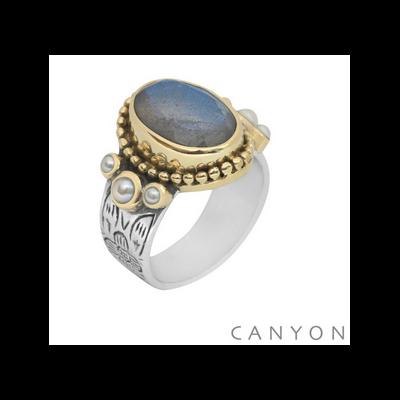 Bague argent et laiton labradorite ovale, 3 perles blanches - Canyon