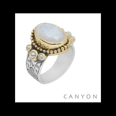Bague argent et laiton pierre de lune ovale, 3 perles blanches - Canyon