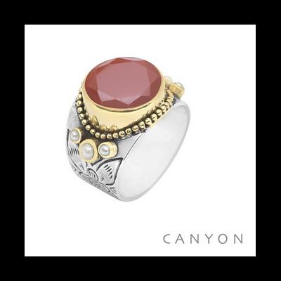 Bague argent et laiton jaspe rouge ronde et 3 perles blanches - Canyon