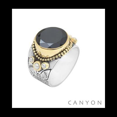 Bague argent et laiton onyx rond et 3 perles blanches - Canyon