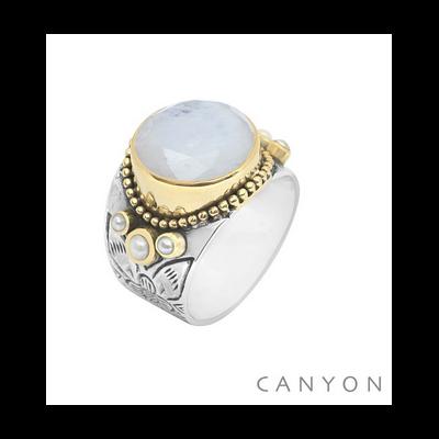 Bague argent et laiton pierre de lune ronde et 3 perles blanches - Canyon