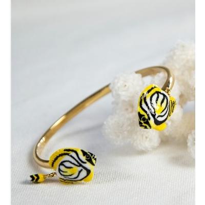 Bracelet Face To face Poisson Papillon Blanc NACH