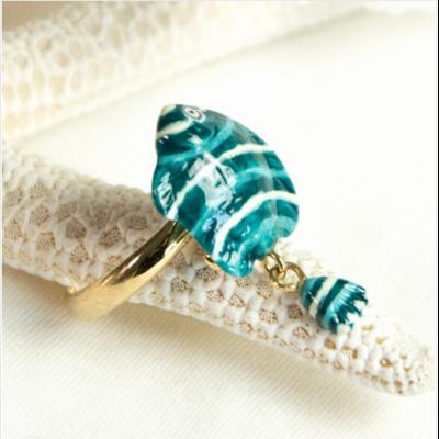 Bague ajustable Poisson Bleu & Blanc NAH