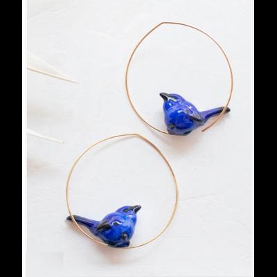 Boucles d'oreilles créoles Oiseau Bleu - NATURE MORTE NACH