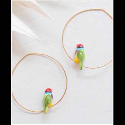Boucles d'oreilles créoles Oiseau Diamant de Gould - NATURE MORTE NACH