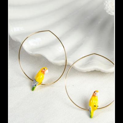 Boucles d'oreilles créoles Perroquet Jaune NACH