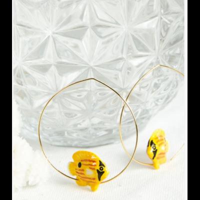 Boucles d'oreilles créoles Poisson Papillon Jaune NACH