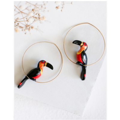 Boucles d'oreilles créoles Toucan Noir & Doré - ÉPICÉE NACH