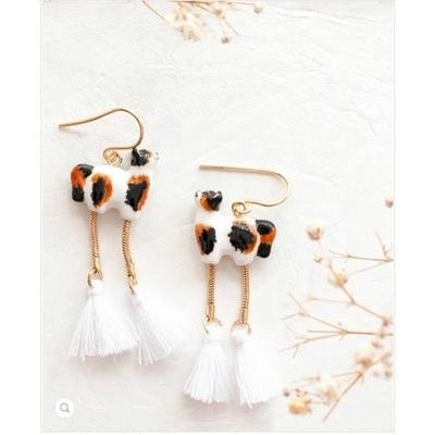 Boucles d'oreilles Chat Marron & Noir avec pompons - RÊVERIE NACH