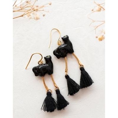 Boucles d'oreilles Chat Noir avec pompons - RÊVERIE NACH