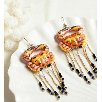 Boucles d'oreilles Crabe avec chaines et perles NACH