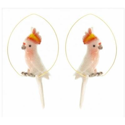 Boucles d'oreilles créoles cacatoès rose NACH