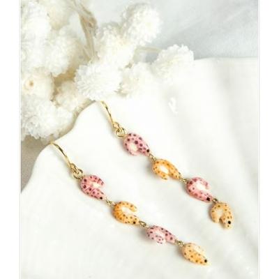 Boucles d'oreilles Mini Crevettes Roses Oranges NACH