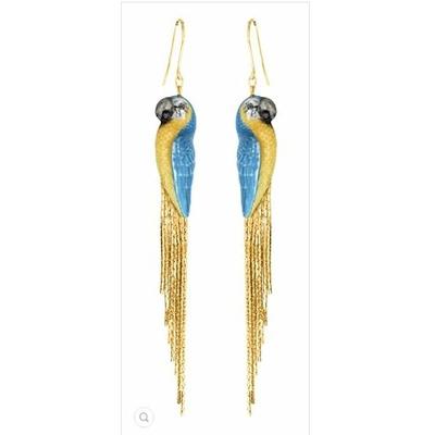 Boucles d'oreilles perroquet bleu à frange NACH J119