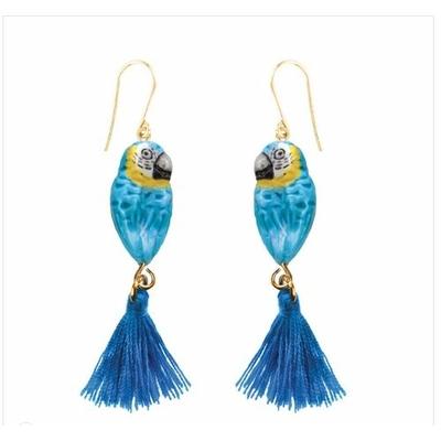 Boucles d'oreilles Perroquet Bleu avec pompon NACH