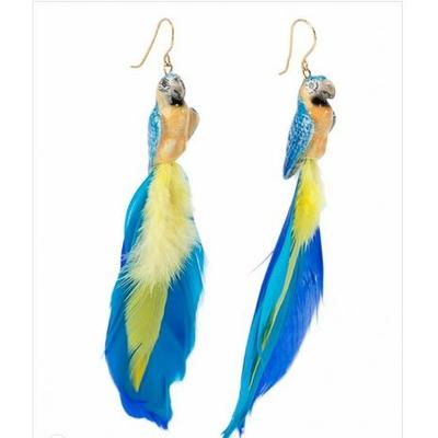 Boucles d'oreilles perroquet bleu NACH