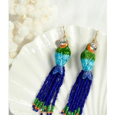 Boucles d'oreilles Perroquet Bleu Vert avec perles NACH