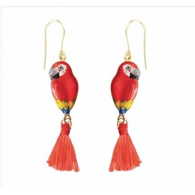 Boucles d'oreilles Perroquet Rouge avec pompon NACH