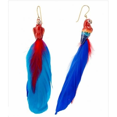 Boucles d'oreilles perroquet rouge NACH