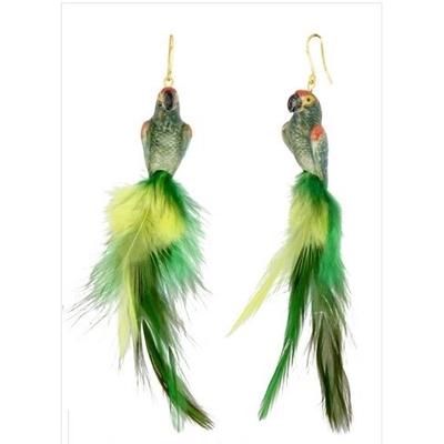 Boucles d'oreilles perroquet vert NACH