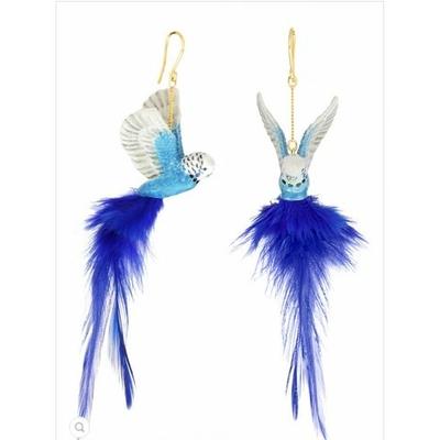 Boucles d'oreilles Perruche Bleue à Plume NACH