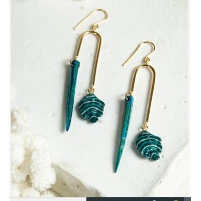 Boucles d'oreilles Poisson Bleu & Coquillage NACH