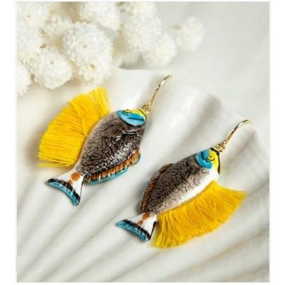 Boucles d'oreilles Poisson Naso Elegans avec franges NACH