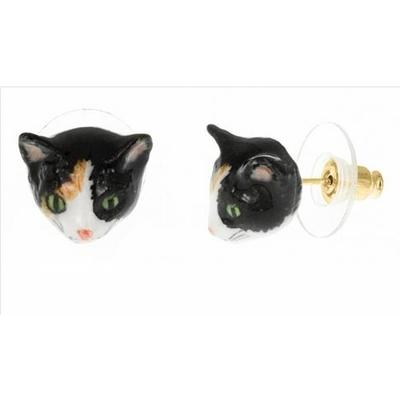 Boucles d'oreilles mini chat noir brun et blanc NACH