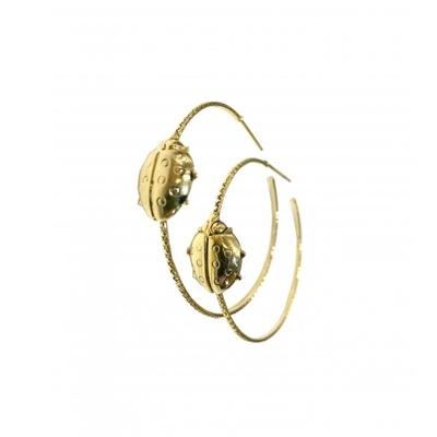 boucles d'oreilles créoles coccinelle dorée  Lotta Djossou