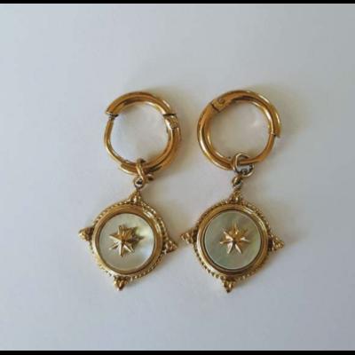 Boucles d'oreilles mini créoles constellation nacre acier inoxydable