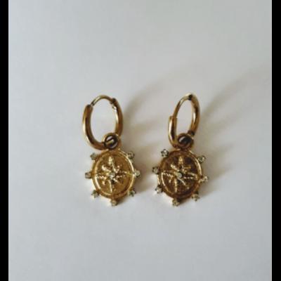 Boucles d'oreilles mini créoles créoles rose des vents avec strass acier inoxydable