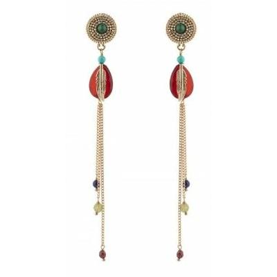 Boucles d'oreilles percées aériennes cornaline rouge Collection Colorado - Satellite Paris