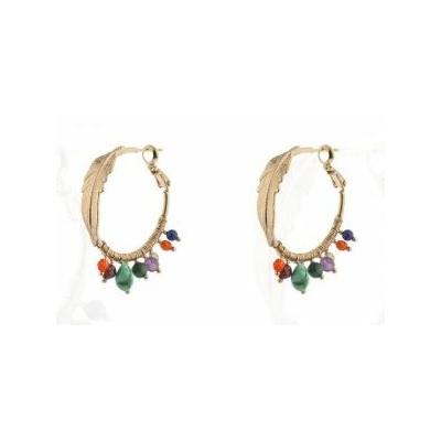 Boucles d'oreilles créoles ethniques turquoise et grenat multicolore Collection Colorado - Satellite Paris