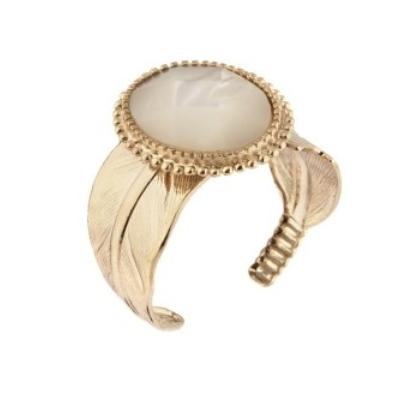 Bague ajustable féminine plume nacre blanche I perle Collection Colorado - Satellite Paris