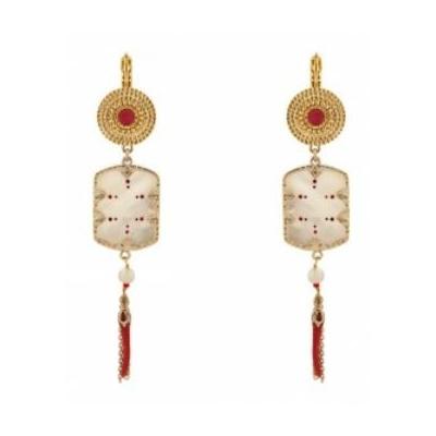 Boucles d'oreilles dormeuses solaires nacre et métal doré I rouge Collection Timor - Satellite Paris