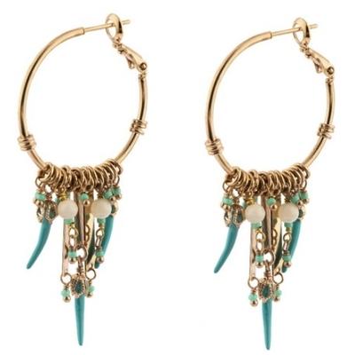 Boucles d'oreilles créoles percées estivales nacre I turquoise Collection Timor - Satellite Paris