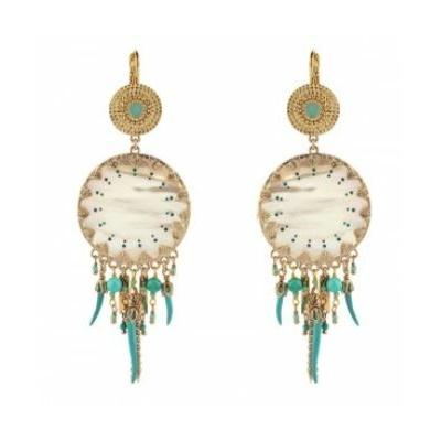 Boucles d'oreilles dormeuses chics nacre perles du Japon I turquoise Collection Timor - Satellite Paris