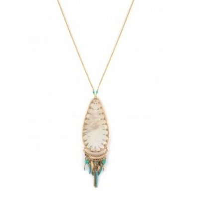 Collier pendentif bohème-chic nacre blanche I turquoise Collection Timor - Satellite Paris