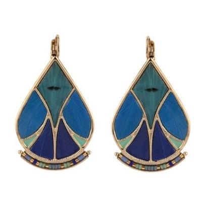 Boucles d'oreilles dormeuses graphiques plumes et perles I bleu Collection Hawai - Satellite Paris
