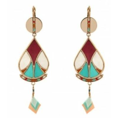 Boucles d'oreilles dormeuses modes plumes et perles I multicolore Collection Hawai - Satellite Paris