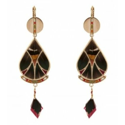 Boucles d'oreilles dormeuses élégantes plumes et perles I kaki Collection Hawai - Satellite Paris